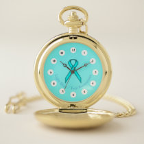 Lt Blue / Teal Standard Ribbon (Cf) by K Yoncich Pocket Watch