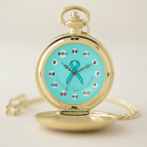 Lt Blue / Teal Standard Ribbon (Kf) by K Yoncich Pocket Watch