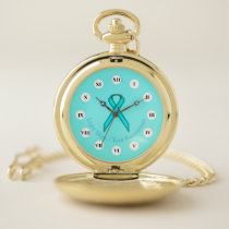 Lt Blue / Teal Standard Ribbon (Rf) by K Yoncich Pocket Watch