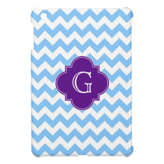 Lt Blue White Chevron Purple Quatrefoil Monogram iPad Mini Cases
