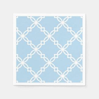 Lt Blue White Large Fancy Quatrefoil Pattern Disposable Napkin