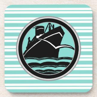Lt Blue White Striped Black Cruise Ship Nautical Drink Coaster