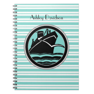 Lt Blue White Striped Black Cruise Ship Nautical Notebook