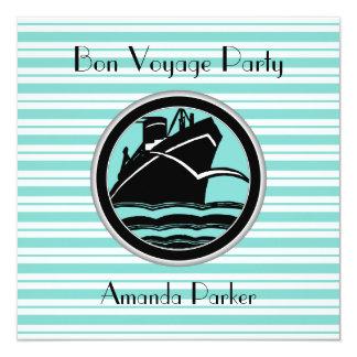 Lt Blue White Striped Black Ship Bon Voyage #2 Card
