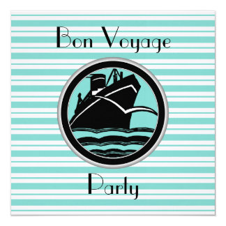 Lt Blue White Striped Black Ship Bon Voyage Invite