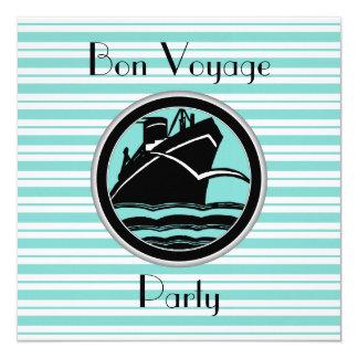 Lt Blue White Striped Black Ship Bon Voyage Invite