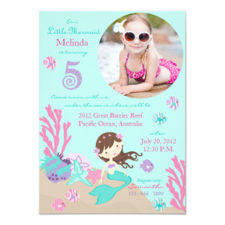 Lt. Brunette Mermaid Fifth Birthday Invitation