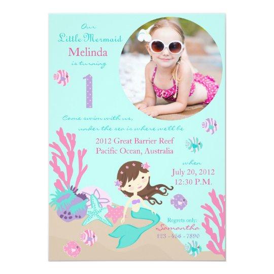 Lt Brunette Mermaid First Birthday Invitation
