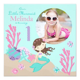 Lt. Brunette Mermaid First Birthday Invitation