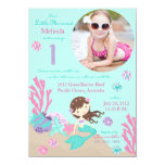 "Lt. Brunette Mermaid First Birthday Invitation 4.5"" X 6.25"" Invitation Card"