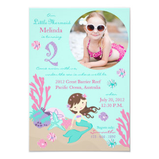 Lt. Brunette Mermaid Second Birthday Invitation