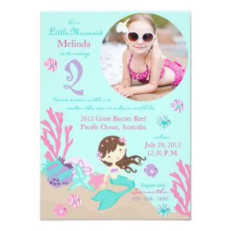 """Lt. Brunette Mermaid Second Birthday Invitation 4.5"""" X 6.25"""" Invitation Card"""