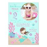 """Lt. Brunette Mermaid Second Birthday Invitation 5"""" X 7"""" Invitation Card"""