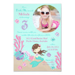 "Lt. Brunette Mermaid Third Birthday Invitation 3.5"" X 5"" Invitation Card"
