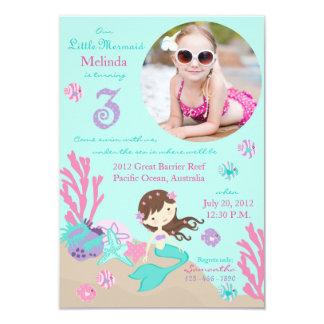 Lt. Brunette Mermaid Third Birthday Invitation