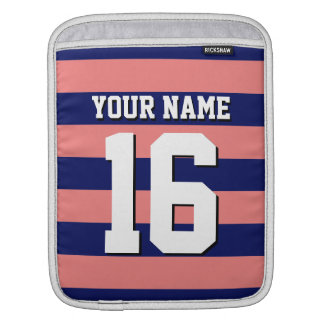 Lt Coral Navy Blue Team Jersey Preppy Stripe Sleeve For iPads