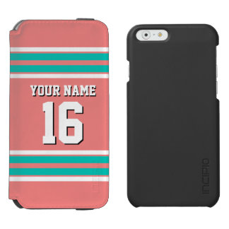 Lt Coral Teal White Team Jersey Custom Number Name iPhone 6/6s Wallet Case