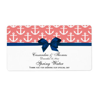 Lt Coral White Anchors Navy Bow Party Water Label Shipping Label