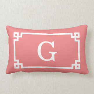 Lt Coral White Greek Key Frame #2 Initial Monogram Lumbar Pillow