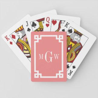 Lt Coral Wht Greek Key #2 Framed 3 Init Monogram Deck Of Cards
