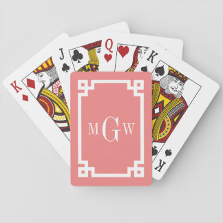 Lt Coral Wht Greek Key #2 Framed 3 Init Monogram Playing Cards