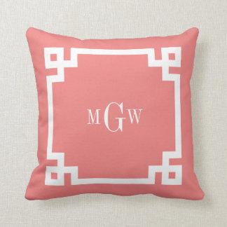 Lt Coral Wht Greek Key #2 Framed 3 Init Monogram Throw Pillow