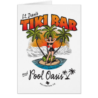 Lt. Dan's Tiki Bar & Pool Oasis Bikini Babe Card