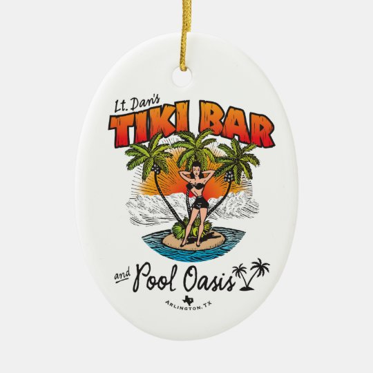 Lt. Dan's Tiki Bar & Pool Oasis Bikini Babe Ceramic Ornament