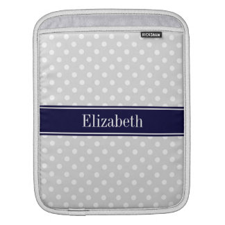 Lt Gray and White Polka Dots Navy Name Monogram Sleeve For iPads