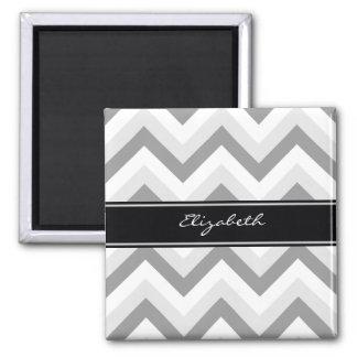 Lt Gray Med Gray White Chevron Black Name Monogram 2 Inch Square Magnet