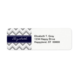 Lt Gray Med Gray White Chevron Navy Name Monogram Return Address Label