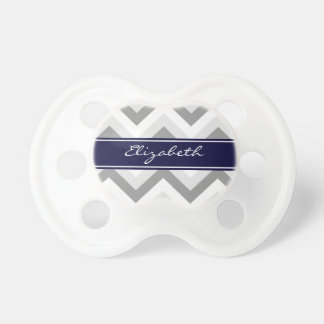 Lt Gray Med Gray White Chevron Navy Name Monogram Pacifier