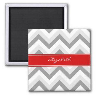 Lt Gray Med Gray White Chevron Red Name Monogram Magnet