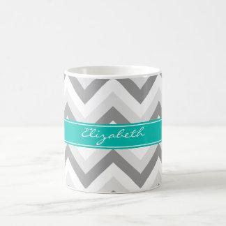 Lt Gray Med Gray White Chevron Teal Name Monogram Classic White Coffee Mug