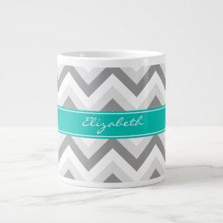 Lt Gray Med Gray White Chevron Teal Name Monogram 20 Oz Large Ceramic Coffee Mug
