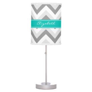 Lt Gray Med Gray White Chevron Teal Name Monogram Table Lamp