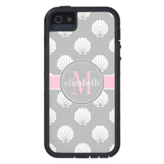 Lt Gray | Pink Clamshells Seashells Monogram Case For iPhone SE/5/5s