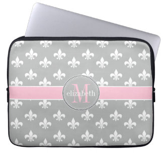Lt Gray Pink White Fleur de Lis Monogram Laptop Sleeve