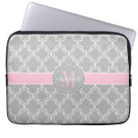 Lt Gray Pink White Moroccan Quatrefoil Monogram Computer Sleeves