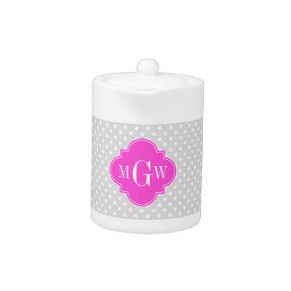 Lt Gray Polka Dot Hot Pink Quatrefoil 3 Monogram Teapot