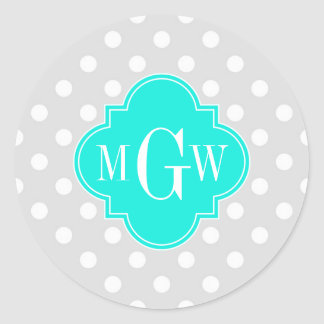 Lt Gray Polka Dots Brt Aqua Quatrefoil 3 Monogram Classic Round Sticker
