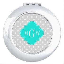 Lt Gray Polka Dots Brt Aqua Quatrefoil 3 Monogram Compact Mirrors