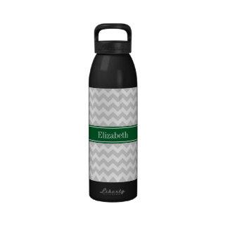 Lt Gray White Chevron Forest Green Name Monogram Water Bottle