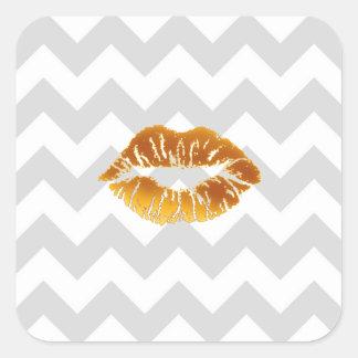 Lt Gray White Chevron, Gold Lipstick Kiss Square Sticker