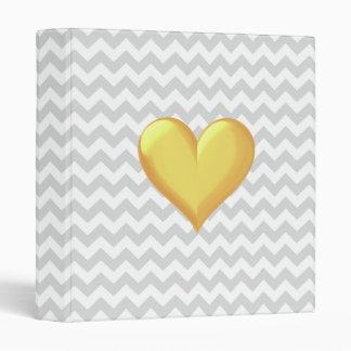 Lt Gray White Chevron Golden Yellow Shaded Heart 3 Ring Binder