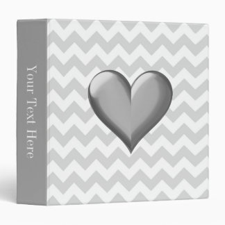 Lt Gray White Chevron Gray Metallic Shaded Heart 3 Ring Binder
