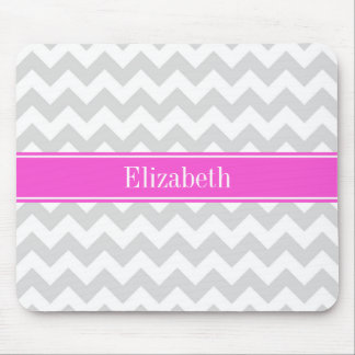 Lt Gray White Chevron Hot Pink Name Monogram Mouse Pad