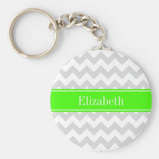 Lt Gray White Chevron Lime Green Name Monogram Keychain