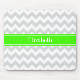 Lt Gray White Chevron Lime Green Name Monogram Mouse Pad