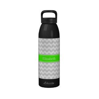 Lt Gray White Chevron Lime Green Name Monogram Water Bottle